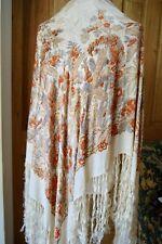 Chal De Seda Antiguo/Vintage con flecos de crema y diseño floral naranja impresa
