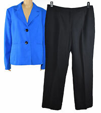 Le Suit Womens Blue/Black Notch Collar Two Button Crepe 2 PC Pant Suit 16
