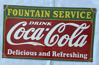 "VINTAGE COKE COCA-COLA 24"" FOUNTAIN SERVICE PORCELAIN SIGN CAR TRUCK OIL GAS"
