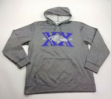 Majestic Mens Gray Baltimore Ravens 20th Anniversary Pullover Hoodie Size Large
