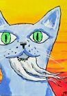"""ACEO Original """"Beard Cat at Sunset"""" Bright 2.5 x 3.5 Painting Josh Merritt"""