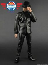 "1/6 Scale Black Leather FULL Suit Set w/ HAT for 12"" Male Action Figure"