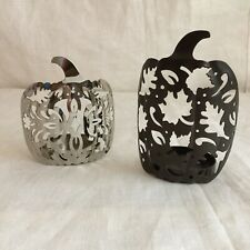Partylite Pierced Leaf Metal Pumpkins Tealight Votive Candle Holders Decoration