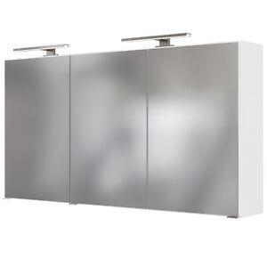 Bad-Spiegelschrank GARDA - 3-türig, mit 2 Leuchten - 120 cm breit - Weiß