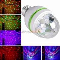 3W E27 RGB LED Full Color DJ Stage Light Bulb Rotating Crystal Disco Lamp Disco