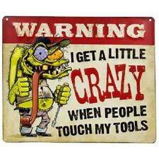 Warning Crazy Tools Embossed Metal Sign - Man Cave Home wall Garage office work