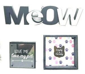 Cat MEOW Word Sign Plaques 3 pc Lot - Pet Animal Wall Home Decor