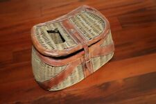 Vintage Wicker Fishing Basket Creel With Handle and Leather