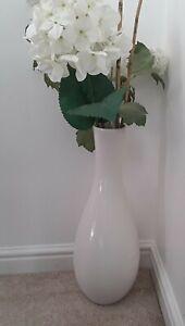 Tall John Rocha Ceramic Floor Vase White Decor flower Modern Art Home Interior