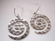 Hammered Spiral Dangle Earrings 925 Sterling Silver Corona Sun Jewelry