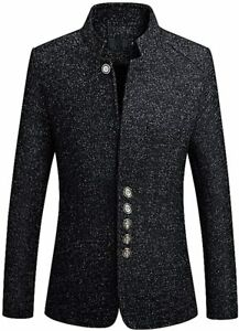 PYJTRL Mens Stand Collar Chinese Tunic Suit Jacket