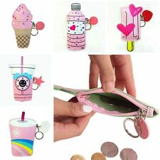 Bag Pouch Handbags Coin Purse With Keyring Ice Cream Bottle PU Leather Wallet