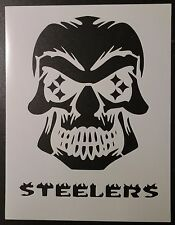 "Pittsburgh Steelers Skull Football 8.5"" x 11"" Custom Stencil FAST FREE SHIPPING"