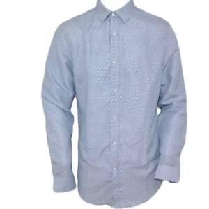 Camicia uomo cotone celeste collo rigido manica lunga motivo astratto blu notte