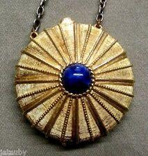 ESTEE LAUDER SOLID PERFUME COMPACT EMPIRE BLUE LAPIS PENDANT NECKLACE vintage