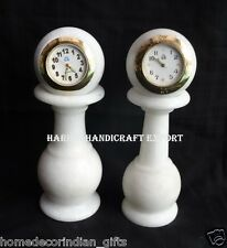 "6"" White Marble Set Of Two Table Clock Makarna Unique beautiful Home Decor H308"