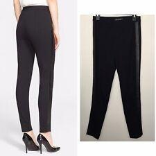 St. John Collection X Nordstrom Leather Trim Black Ponte Knit Pants 8 M $495