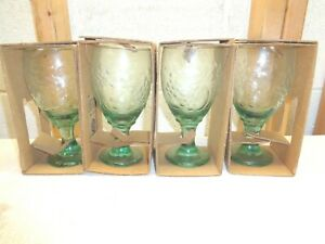 """4 LIBBEY Orchard Fruit Spanish Green Glass 7"""" Water Ice Tea Goblet~New!"""