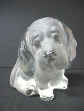 Vintage VIKING art glass paperweight Sculpted DOG flat back