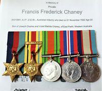 WW2 KIA AUSTRALIAN MEDAL GROUP 2/32 BATTALION WX10881 CHANEY EL ALAMEIN ANZAC