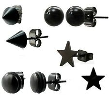 NEW Mens Black Steel Stud Earrings BALL Disc STAR Tribal SINGLE or PAIR (N8)