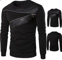 Leather Sweatshirt For Men Casual Stylish Zipper Designed Top Clothing Wears New