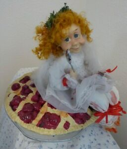"""Fairy Angel possible Doll Pigtails Freckles cherry pie Fork Spoon Resin? Vtg 15"""""""