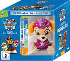 7 DVDs * PAW PATROL BOX - DVD VOL. 1 - 7 (TOGGOLINO) INKL. PLÜSCH HUND SKYE