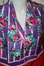 PRETTY FLORAL SCARF IN PURPLE AND PINK-50 IN. BY 10 IN WIDE SUMMER BOUQUET!