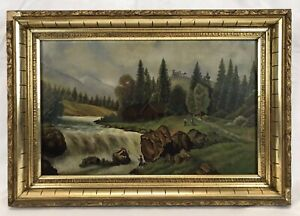 Antique 19th C Landscape Oil Painting Mountains Waterfall Cabins Castle People