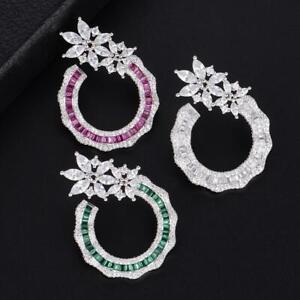 38MM Luxury Flower Cluster Full Micro White CZ, Emerald & Pink Ruby Fine Earring