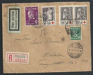 Finland covers 1934 mixed franked R-Airmailcover Wiesbaden  RED CROSS