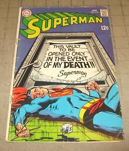 SUPERMAN #213 (Jan 1969) Low-Grade Condition Comic - Vault - Neal Adams Cover