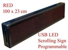 RED Programmable USB LED Message,Time Scrolling Digital Display Sign 100x23 cm R