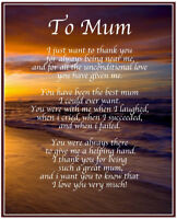 Personalised To Mum Poem Mothers Day Birthday Christmas Gift Present