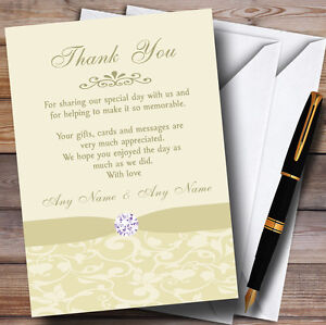 Cream Pale Gold Beige Damask Diamante Personalised Wedding Thank You Cards