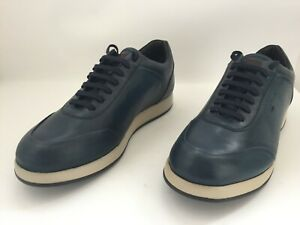 Santoni blue leather shoes /  sneakers / canvas / Santoni Italy 8 - 11 US