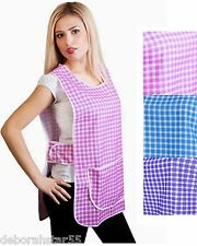 Work Cleaning Catering Tabard Tabbard Apron Overall Big Check 6 Sizes UK 8-30