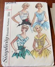 Vintage 1950's Ladies Blouse Simplicity Sewing Pattern FF Unused Bust 32