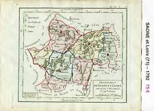 Dépt 71 - Carte de la Saône et Loire Superbe Gravure Cuivre Aquarellée 1792