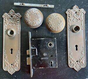 Vintage Original Antique Brass 1890s Door Knob Set Plates Lock Screws