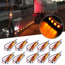 10x Amber 4-LED Clearance Side Marker Light For Truck Trailer w/Chrome Housing