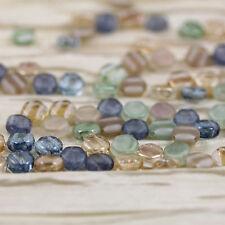 30pcs 6mm Beach Glass Mega Mix 2-hole Honeycomb Czech glass beads