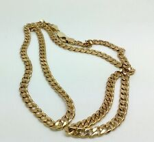9ct Gold solid flat link Curb chain 21 3/4""
