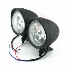 "Twin 4.7"" Headlight Lamp Dual Clear Motorcycle Arrow Style Hi/Low Beam Black"