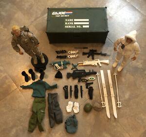 "Hasbro GI Joe Lot 12"" Dolls Plus Accessories And Box 1990's Used"