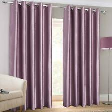 Heather Eyelet Curtains Purple Faux Silk Ready Made Ring Top Lined Curtain Pairs