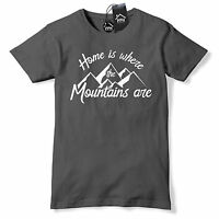 Home is where Mountains Are T Shirt Mens Womens Ski Snowboard Tshirt Skiing 493