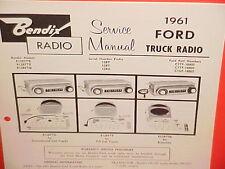 1961 FORD TRUCK CONVENTIONAL TILT CAB ECONOLINE BENDIX AM RADIO SERVICE MANUAL