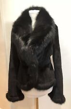 Valentino Couture Black Shaved Mink And Fox Fur Jacke